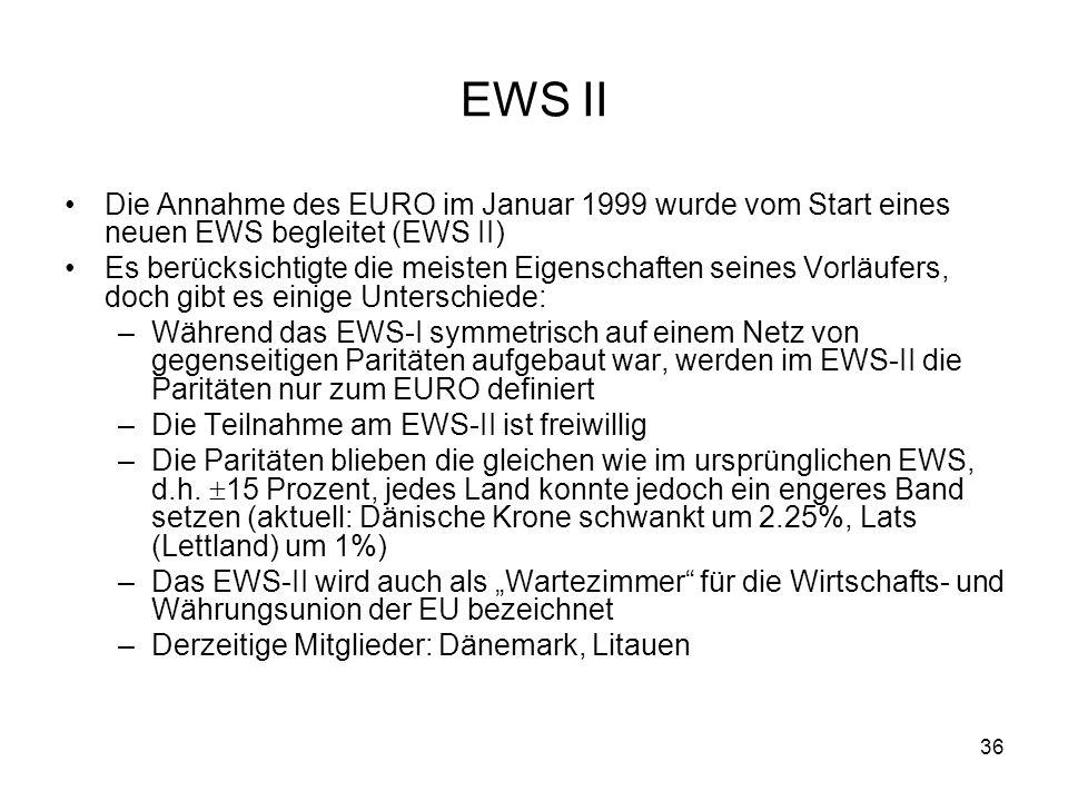 EWS II Die Annahme des EURO im Januar 1999 wurde vom Start eines neuen EWS begleitet (EWS II)
