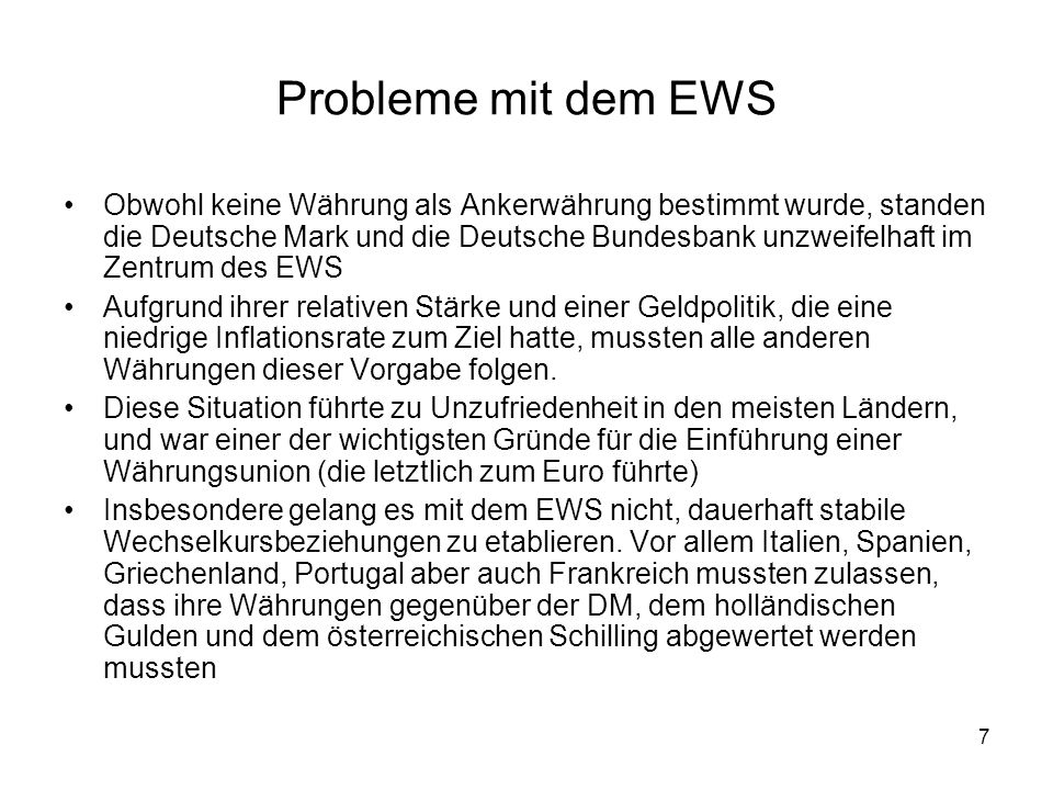 Probleme mit dem EWS