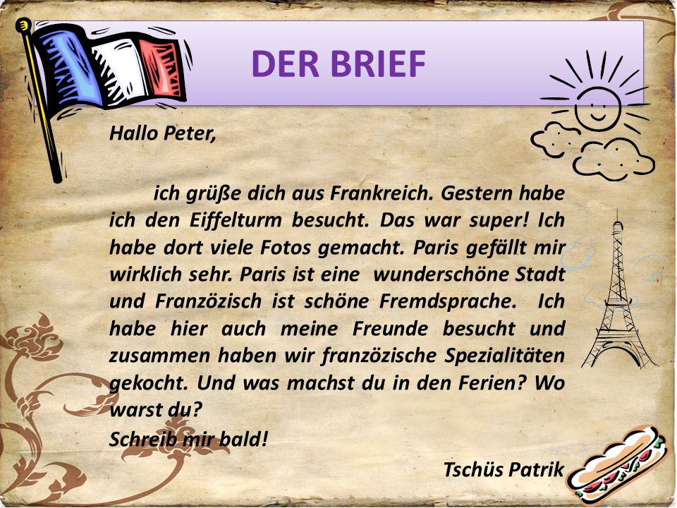 DER BRIEF Hallo Peter,