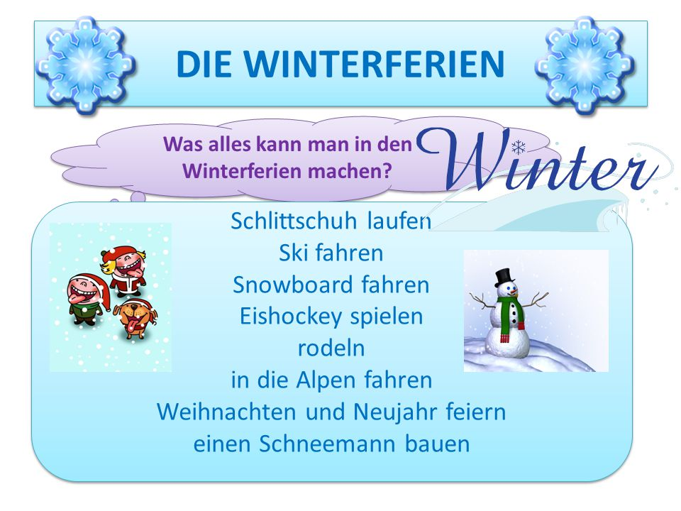 Was alles kann man in den Winterferien machen