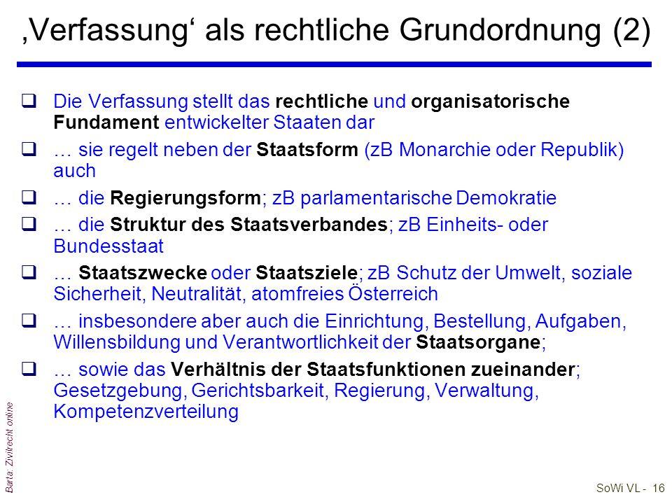 'Verfassung' als rechtliche Grundordnung (2)