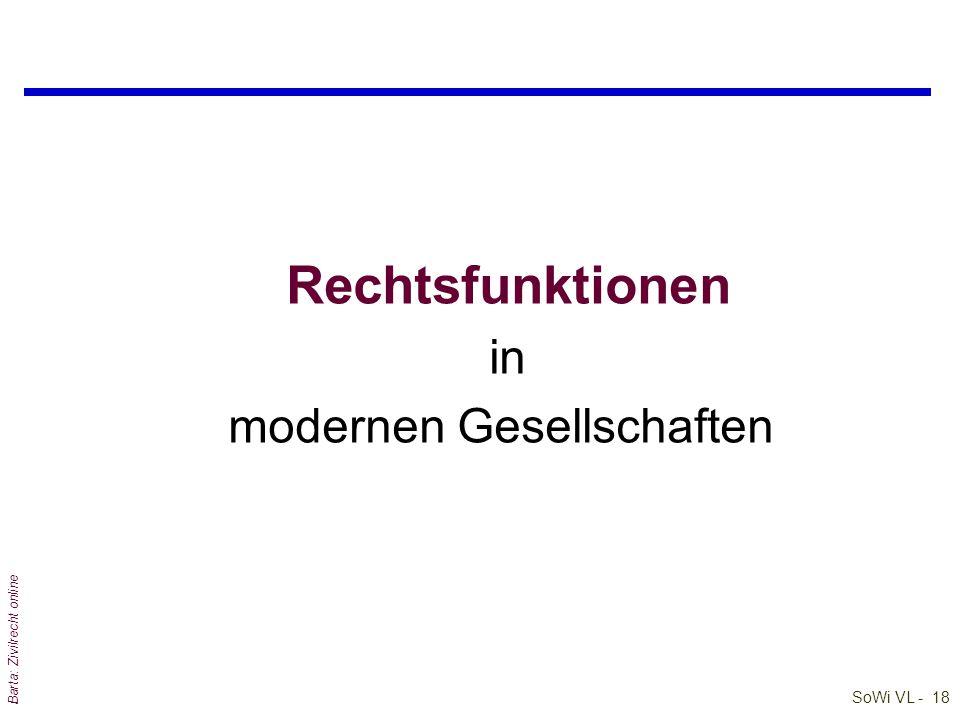 Rechtsfunktionen in modernen Gesellschaften Barta: Zivilrecht online
