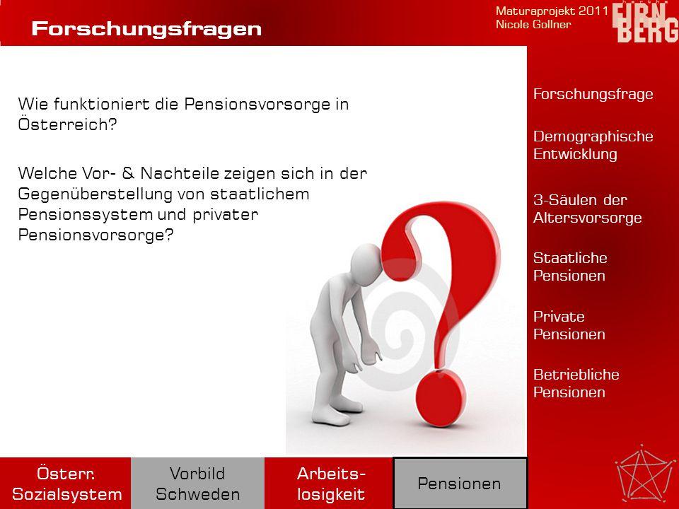Forschungsfragen Wie funktioniert die Pensionsvorsorge in Österreich