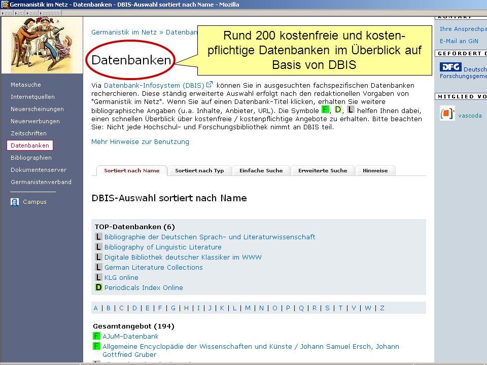 Rund 200 kostenfreie und kosten-pflichtige Datenbanken im Überblick auf Basis von DBIS