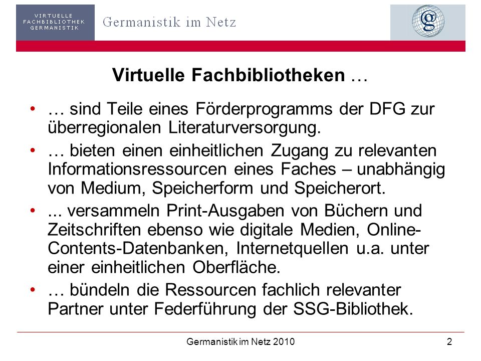 Virtuelle Fachbibliotheken …