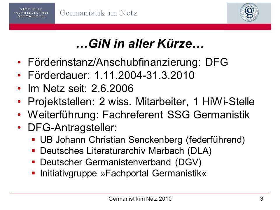 …GiN in aller Kürze… Förderinstanz/Anschubfinanzierung: DFG
