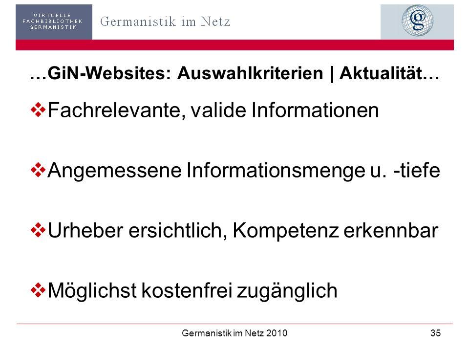 …GiN-Websites: Auswahlkriterien   Aktualität…