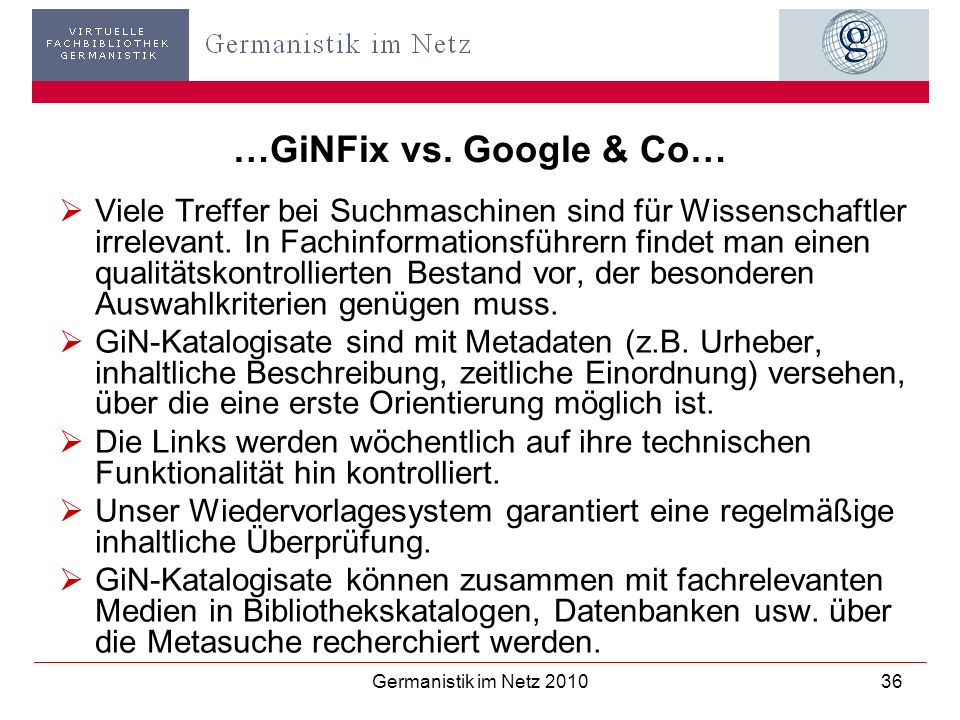 …GiNFix vs. Google & Co…