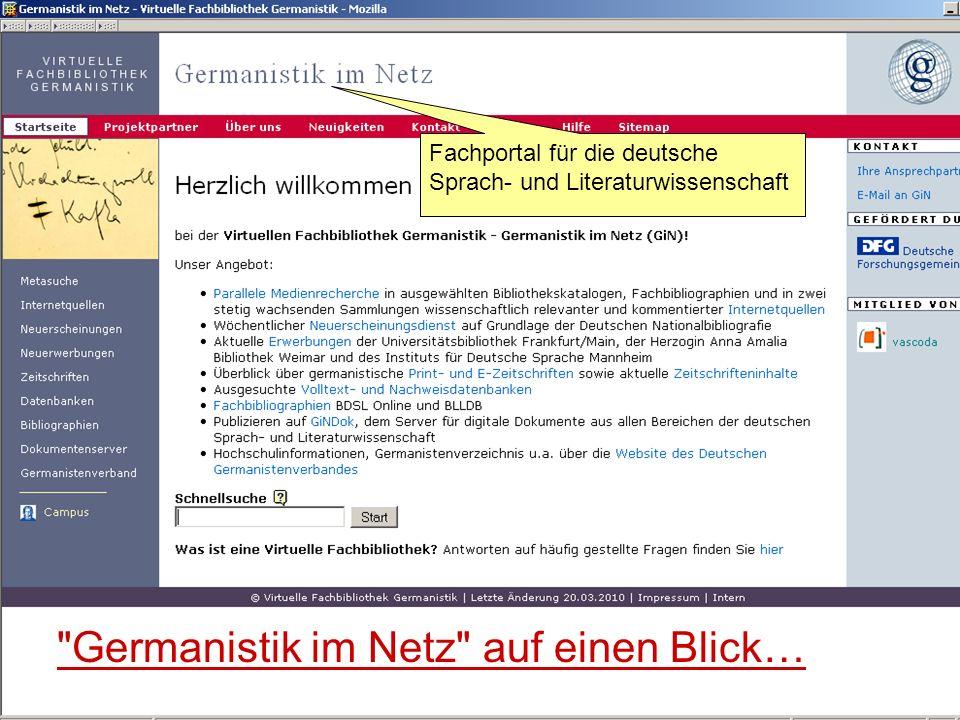 Germanistik im Netz auf einen Blick…