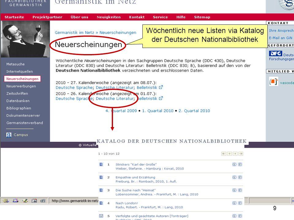 Wöchentlich neue Listen via Katalog der Deutschen Nationalbibliothek