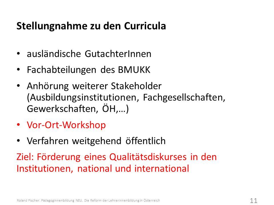 Stellungnahme zu den Curricula