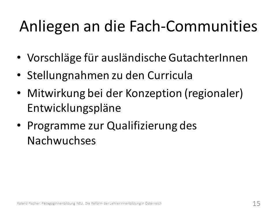 Anliegen an die Fach-Communities