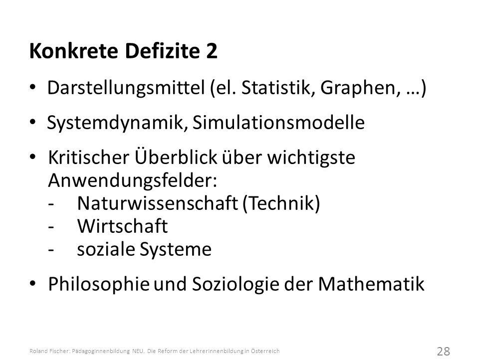 Konkrete Defizite 2 Darstellungsmittel (el. Statistik, Graphen, …)