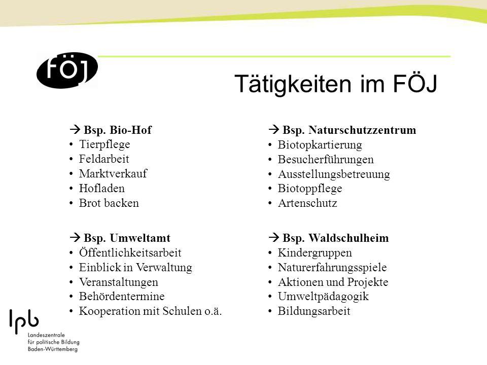 Tätigkeiten im FÖJ  Bsp. Bio-Hof Tierpflege Feldarbeit Marktverkauf