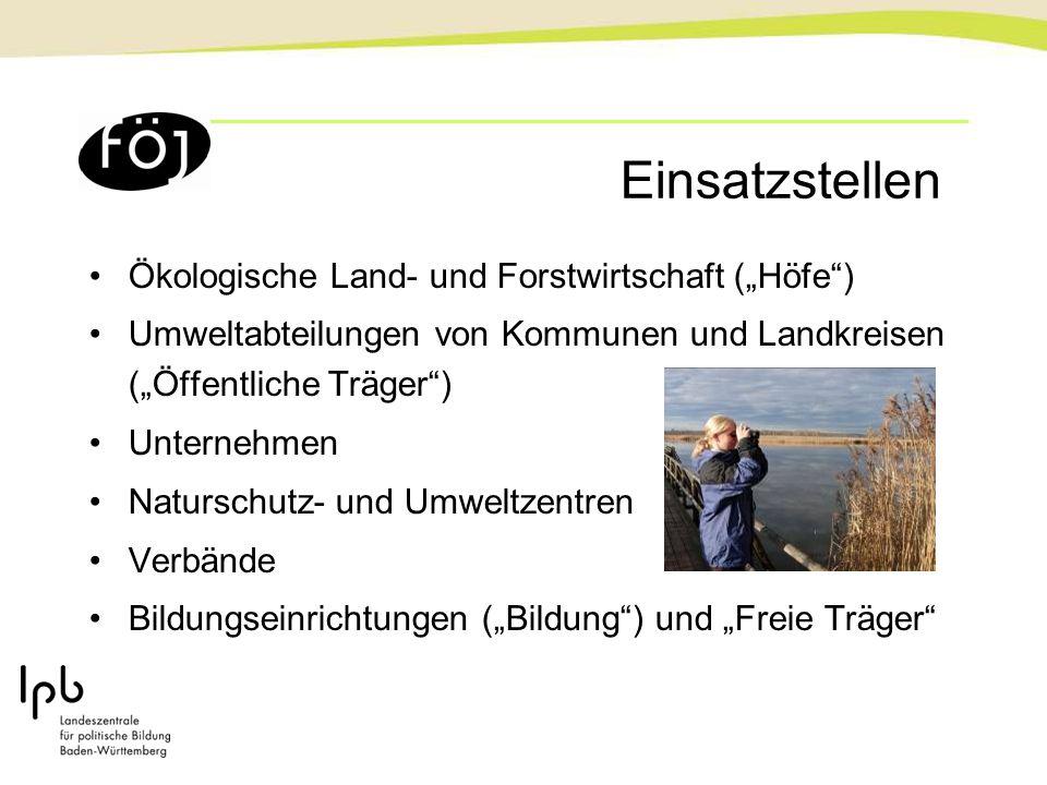 """Einsatzstellen Ökologische Land- und Forstwirtschaft (""""Höfe )"""