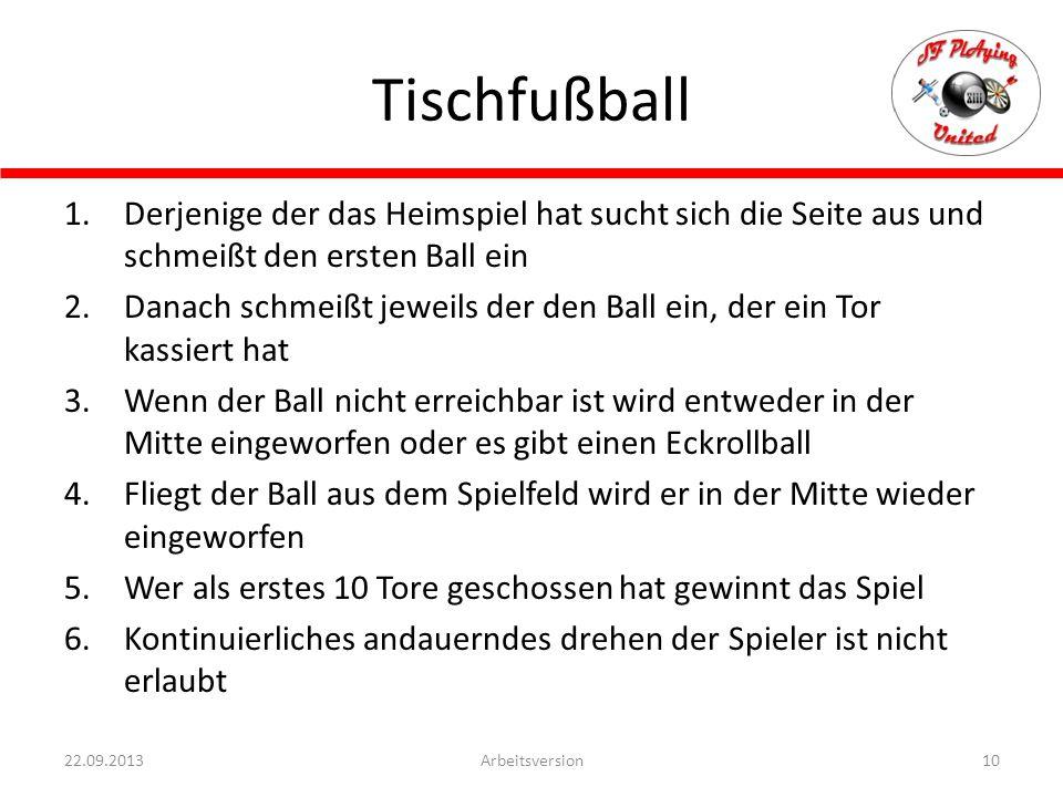 Tischfußball Derjenige der das Heimspiel hat sucht sich die Seite aus und schmeißt den ersten Ball ein.