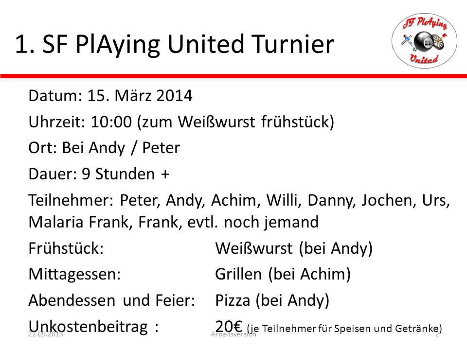 1. SF PlAying United Turnier