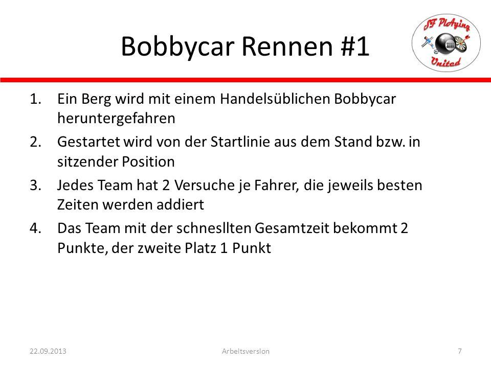 Bobbycar Rennen #1 Ein Berg wird mit einem Handelsüblichen Bobbycar heruntergefahren.