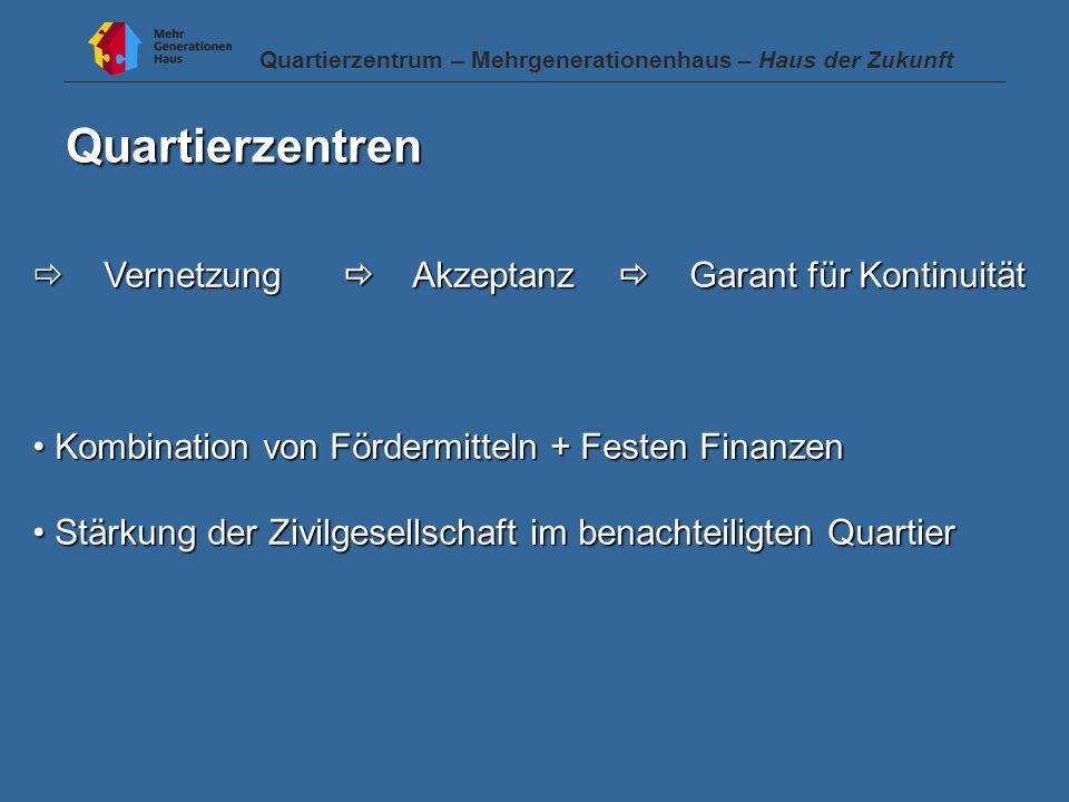 Quartierzentren  Vernetzung  Akzeptanz  Garant für Kontinuität