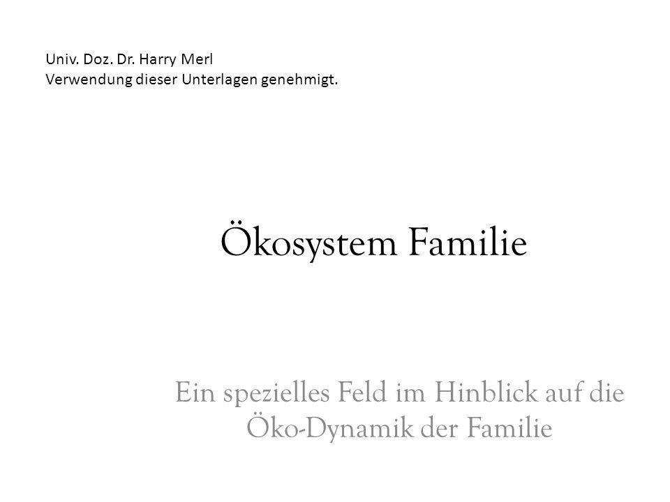 Ein spezielles Feld im Hinblick auf die Öko-Dynamik der Familie