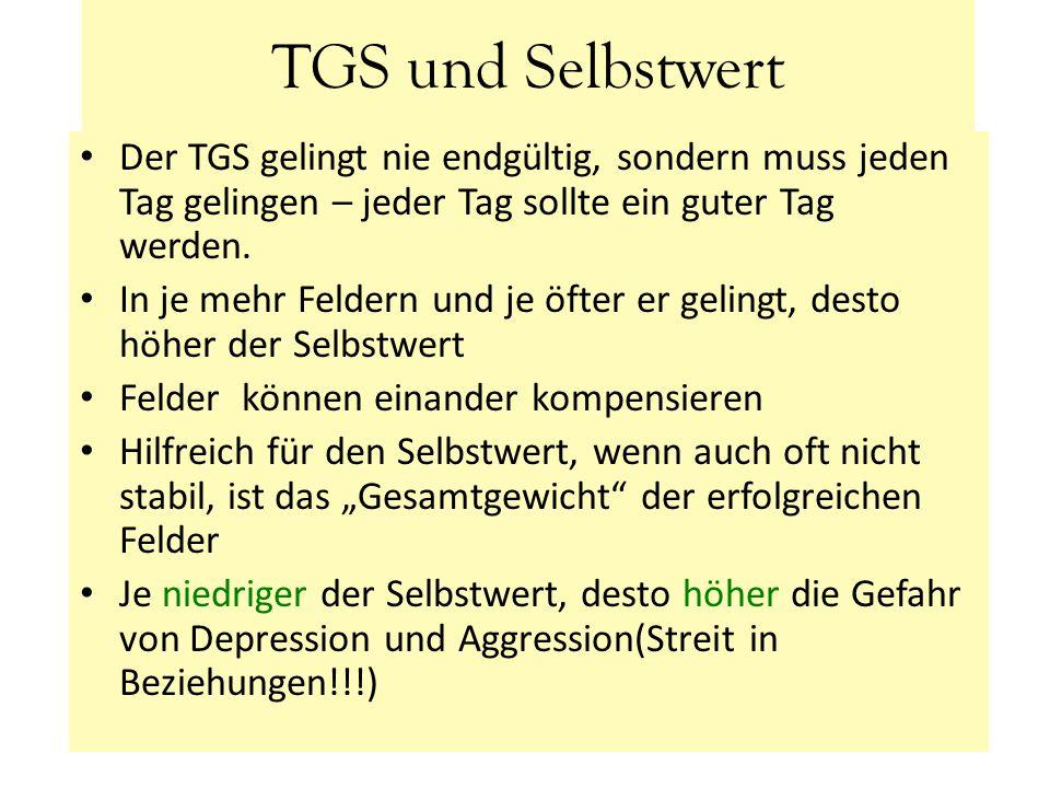 TGS und Selbstwert Der TGS gelingt nie endgültig, sondern muss jeden Tag gelingen – jeder Tag sollte ein guter Tag werden.