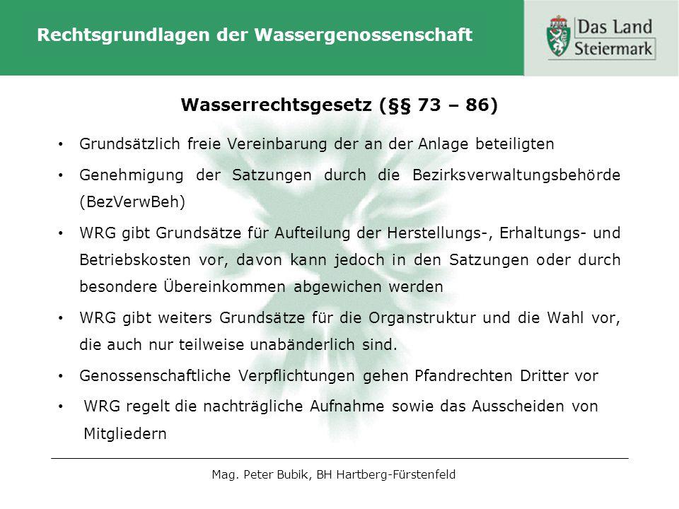 Rechtsgrundlagen der Wassergenossenschaft