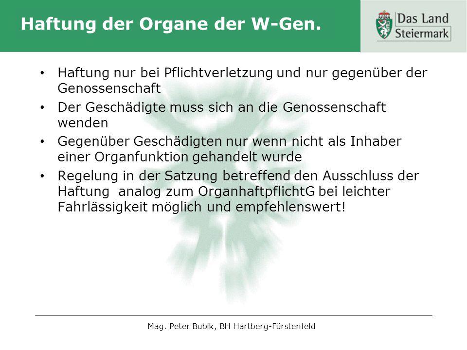 Haftung der Organe der W-Gen.