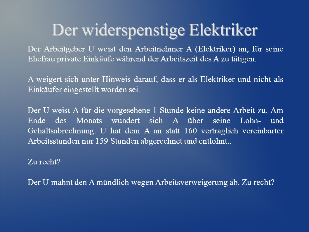 Der widerspenstige Elektriker