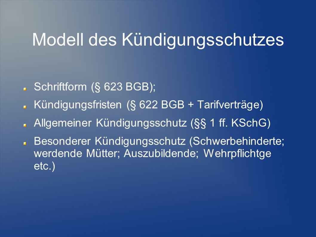 Modell des Kündigungsschutzes