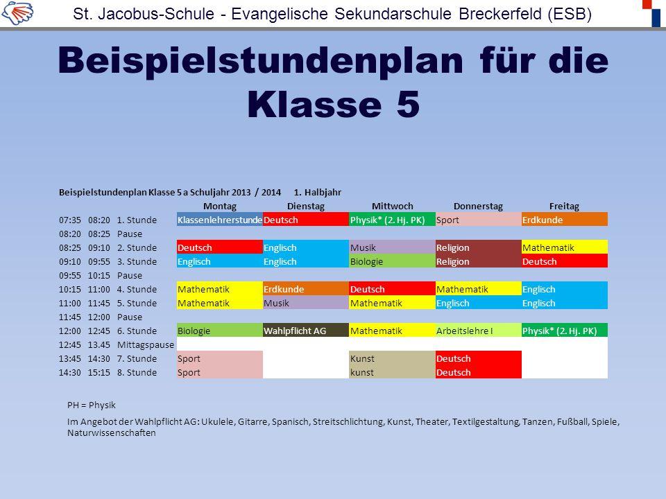 Beispielstundenplan für die Klasse 5