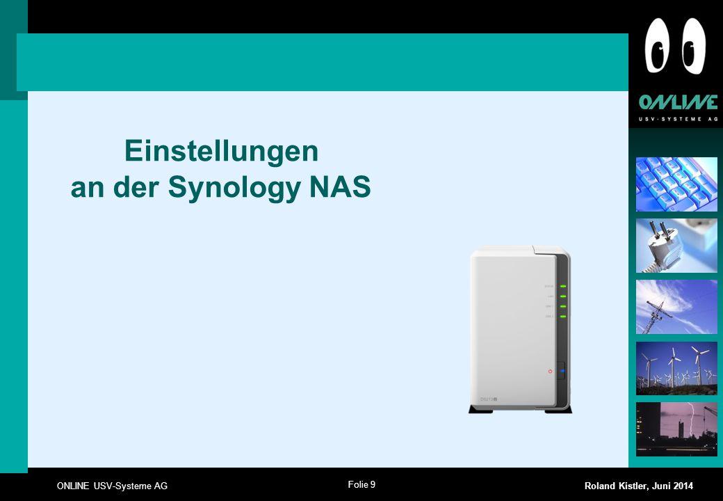 Einstellungen an der Synology NAS