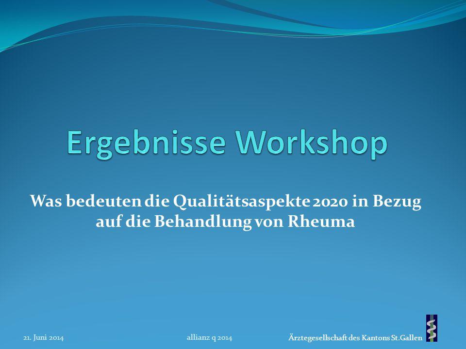 Ergebnisse Workshop Was bedeuten die Qualitätsaspekte 2020 in Bezug auf die Behandlung von Rheuma. 21. Juni 2014.