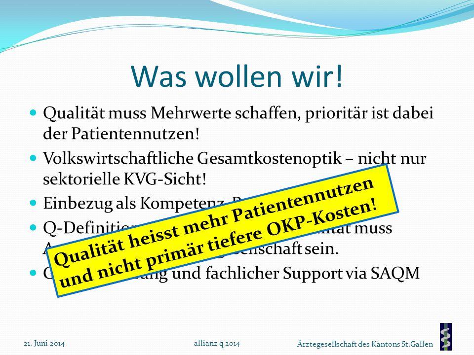 Was wollen wir! Qualität muss Mehrwerte schaffen, prioritär ist dabei der Patientennutzen!