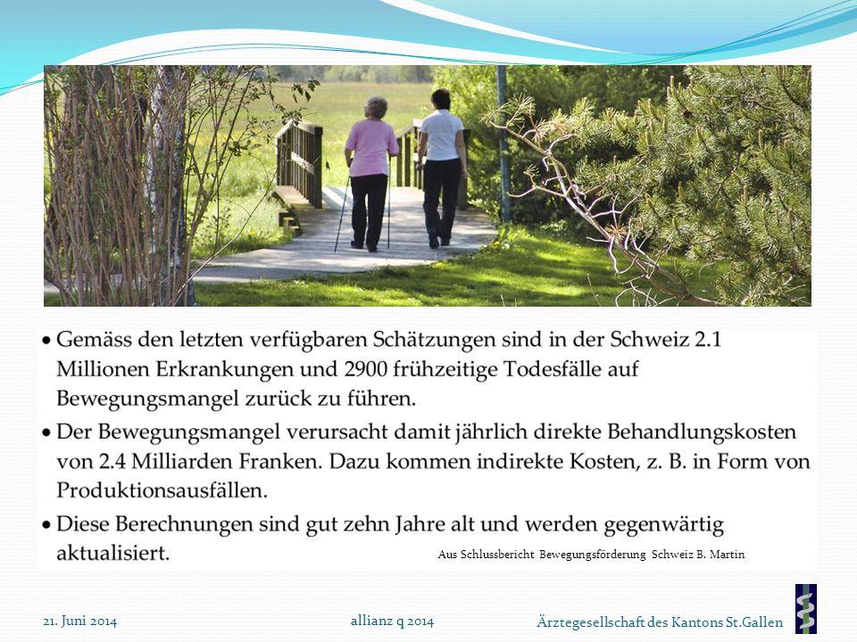 Aus Schlussbericht Bewegungsförderung Schweiz B. Martin