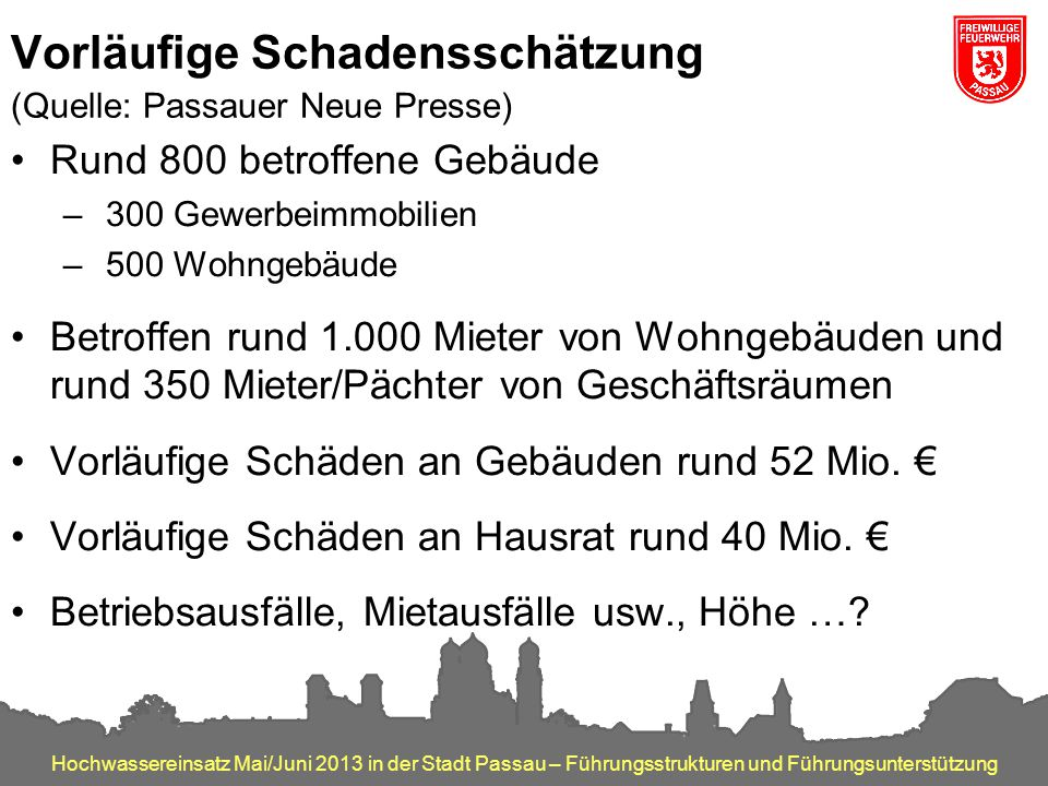 Vorläufige Schadensschätzung (Quelle: Passauer Neue Presse)