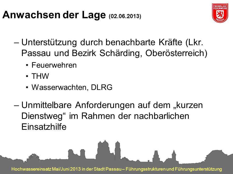 Anwachsen der Lage (02.06.2013) Unterstützung durch benachbarte Kräfte (Lkr. Passau und Bezirk Schärding, Oberösterreich)