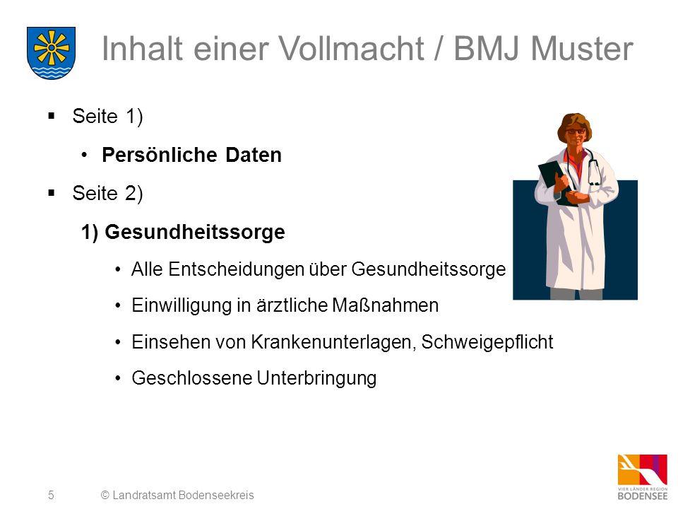 Inhalt einer Vollmacht / BMJ Muster