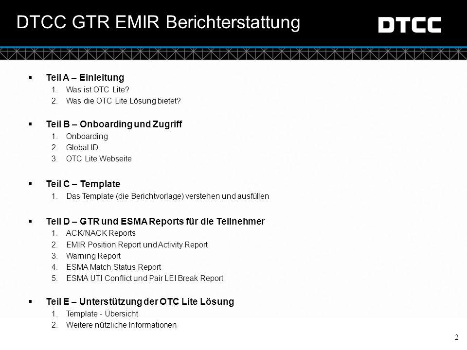 DTCC GTR EMIR Berichterstattung