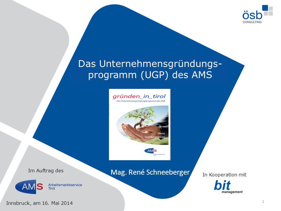 Das Unternehmensgründungs-programm (UGP) des AMS