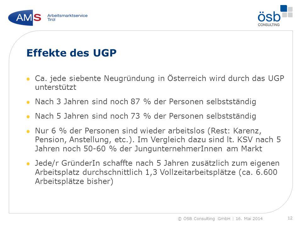 Effekte des UGP Ca. jede siebente Neugründung in Österreich wird durch das UGP unterstützt. Nach 3 Jahren sind noch 87 % der Personen selbstständig.