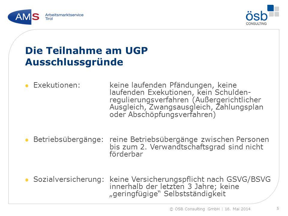 Die Teilnahme am UGP Ausschlussgründe