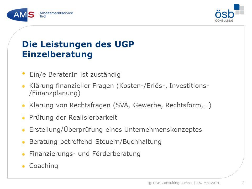Die Leistungen des UGP Einzelberatung Ein/e BeraterIn ist zuständig