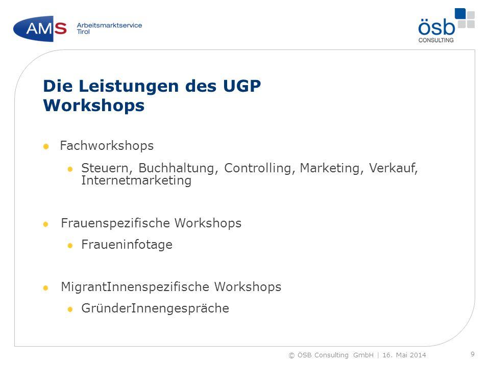 Die Leistungen des UGP Workshops Fachworkshops