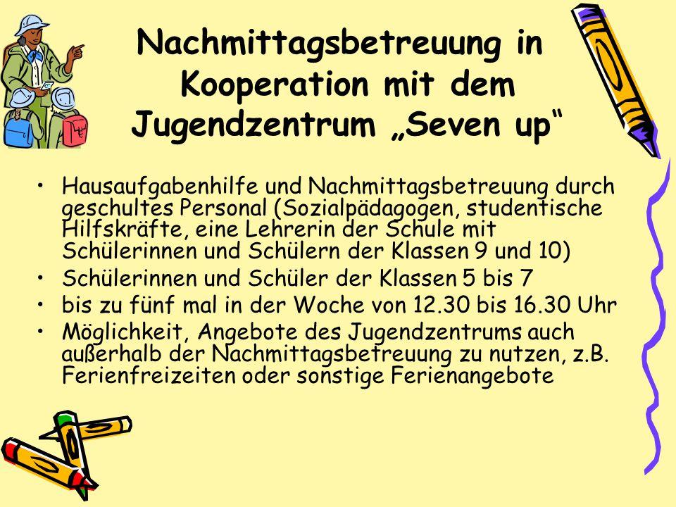 """Nachmittagsbetreuung in Kooperation mit dem Jugendzentrum """"Seven up"""