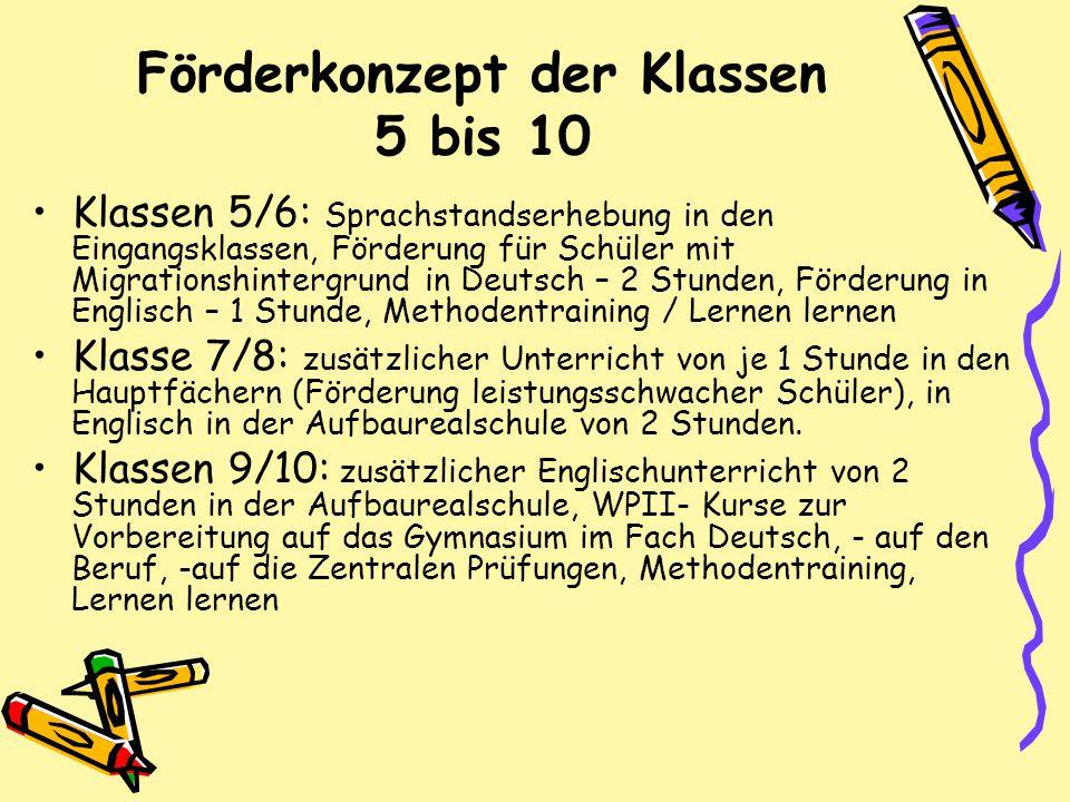 Förderkonzept der Klassen 5 bis 10