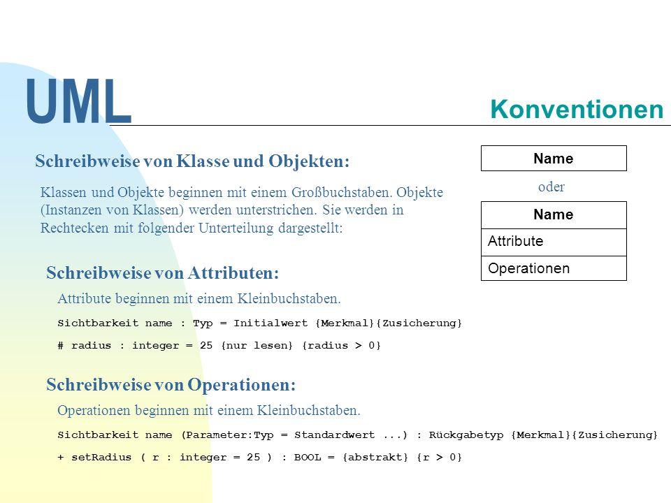 UML Konventionen Schreibweise von Klasse und Objekten: