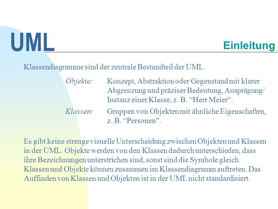 UML Einleitung Klassendiagramme sind der zentrale Bestandteil der UML.