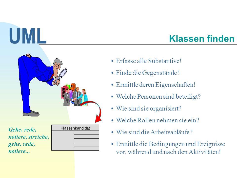 UML Klassen finden Erfasse alle Substantive! Finde die Gegenstände!