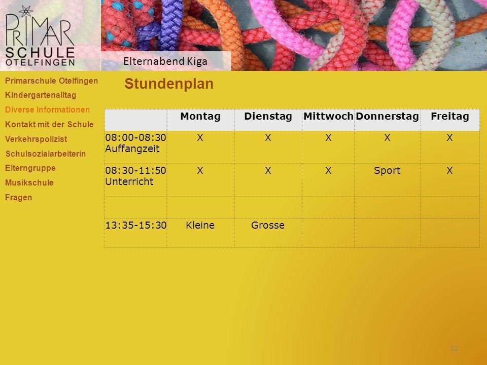 Stundenplan Elternabend Kiga Montag Dienstag Mittwoch Donnerstag