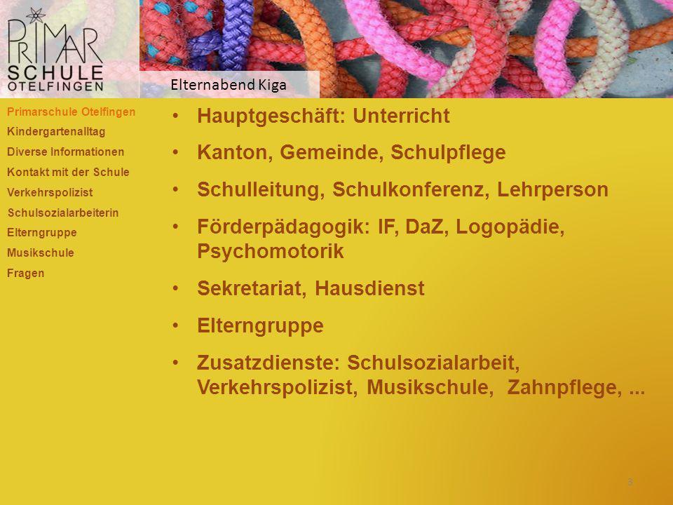 Hauptgeschäft: Unterricht Kanton, Gemeinde, Schulpflege